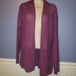 Eileen Fisher Woman Purple Wool Cardigan Sweater